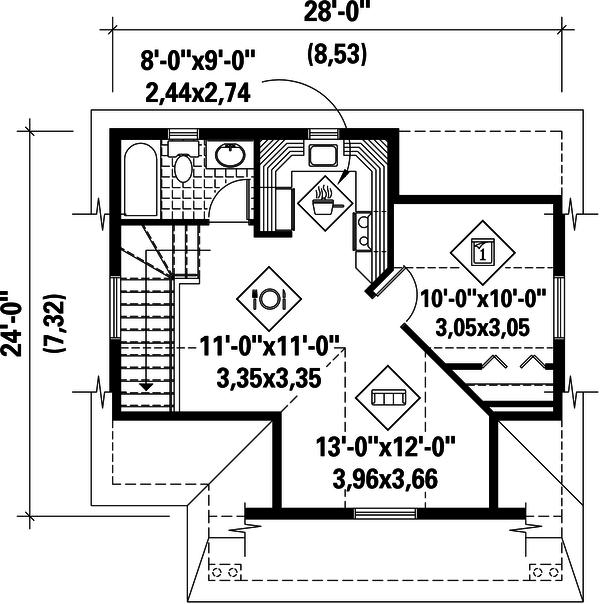 Traditional Floor Plan - Upper Floor Plan Plan #25-4755