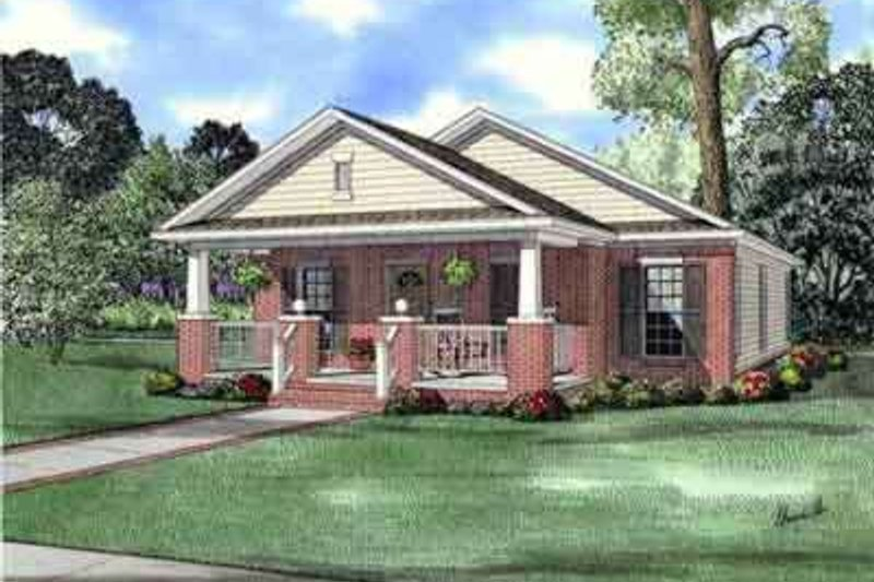 Craftsman Style House Plan - 3 Beds 2 Baths 1256 Sq/Ft Plan #17-2253 Exterior - Front Elevation