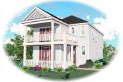 Southern Style House Plan - 4 Beds 2.5 Baths 1802 Sq/Ft Plan #81-115 Exterior - Front Elevation