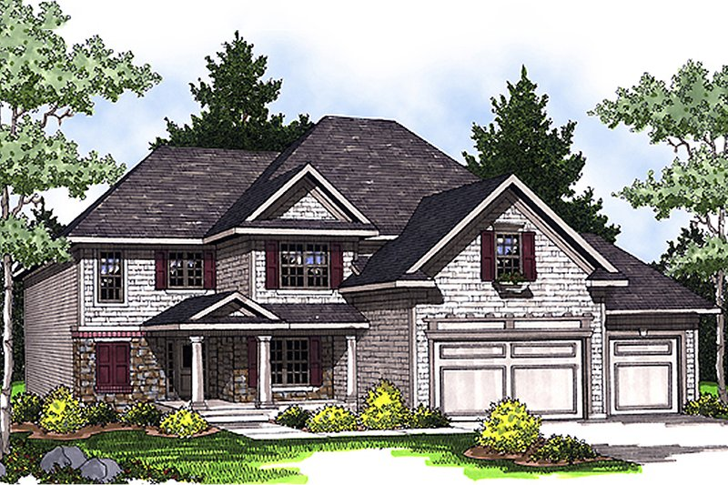 Home Plan - Front View - 2400 square foot Traditional home