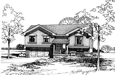 Traditional Style House Plan - 3 Beds 2 Baths 1125 Sq/Ft Plan #20-134 Exterior - Front Elevation