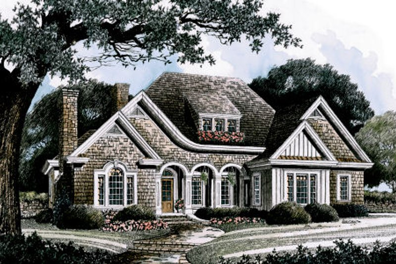 Traditional Style House Plan - 3 Beds 3.5 Baths 2860 Sq/Ft Plan #429-23 Exterior - Front Elevation