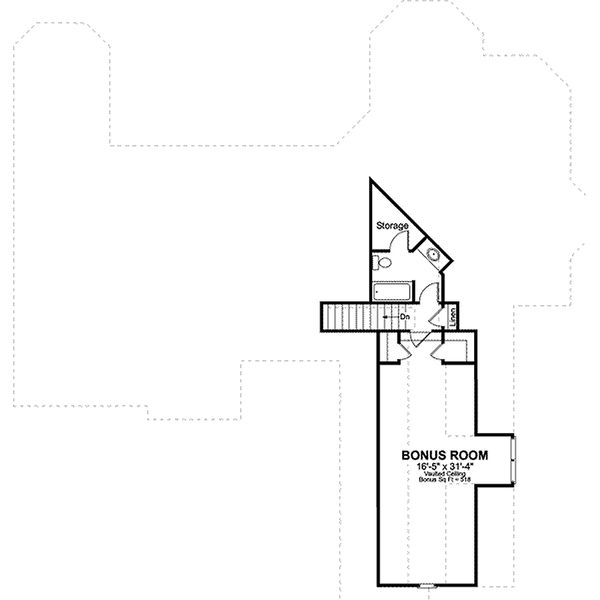 Traditional style house plan, bonus level floor plan