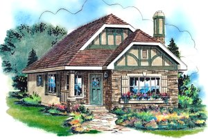 House Plan Design - Tudor Exterior - Front Elevation Plan #18-1045