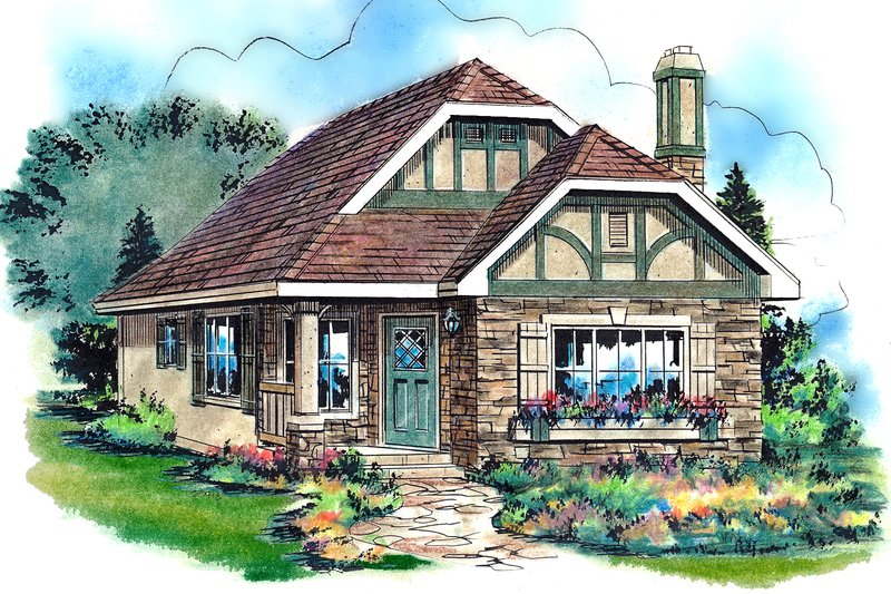 House Blueprint - Tudor Exterior - Front Elevation Plan #18-1045