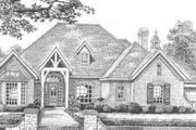 European Style House Plan - 4 Beds 3.5 Baths 3294 Sq/Ft Plan #310-498 Exterior - Front Elevation
