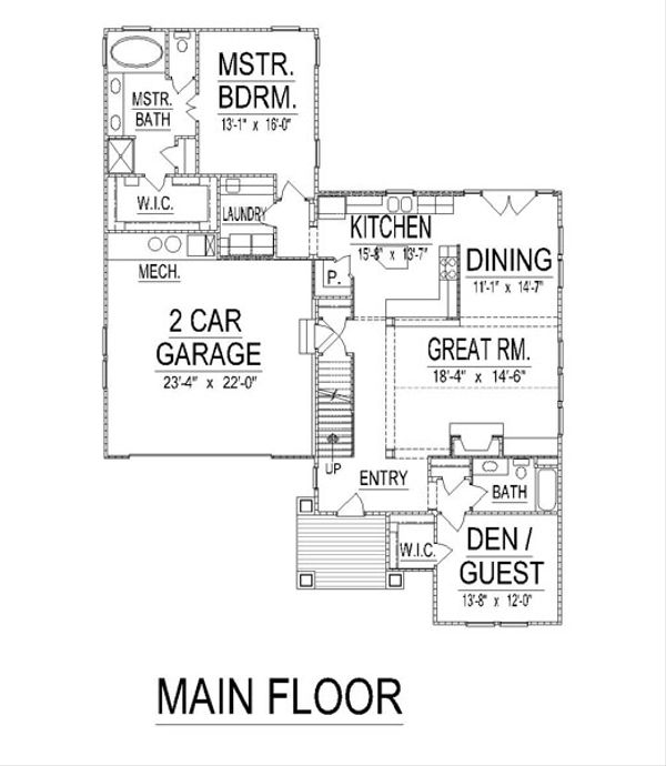 Craftsman Floor Plan - Main Floor Plan Plan #458-16