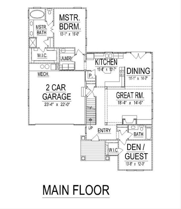 Craftsman Floor Plan - Main Floor Plan Plan #458-16