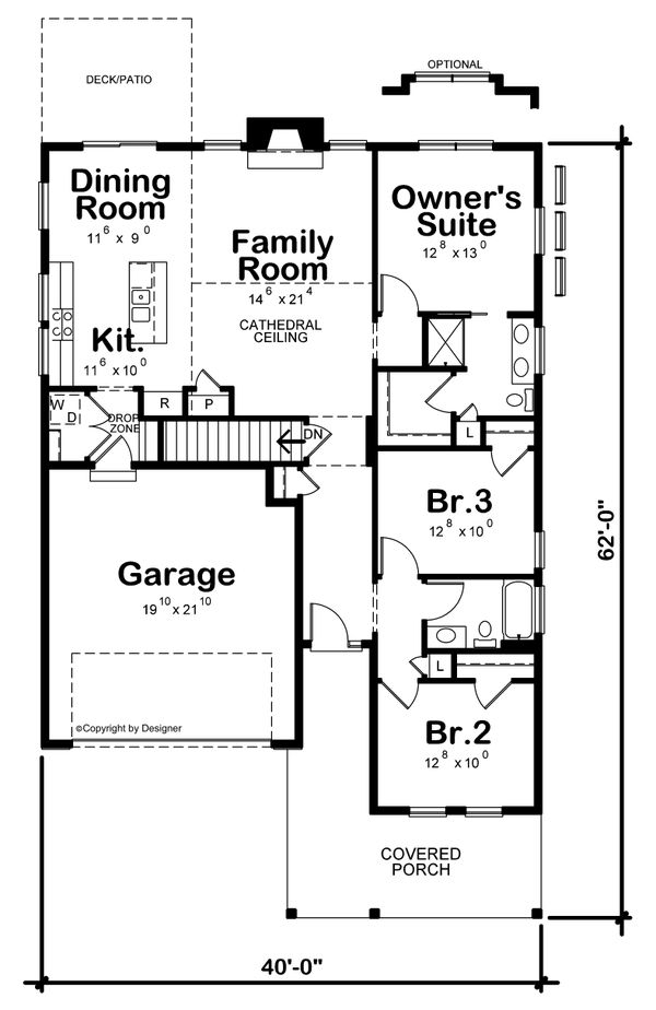 House Plan Design - Farmhouse Floor Plan - Main Floor Plan #20-2440