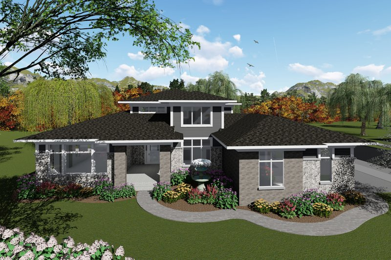 Modern Style House Plan - 4 Beds 3.5 Baths 3094 Sq/Ft Plan #70-1430 Exterior - Front Elevation