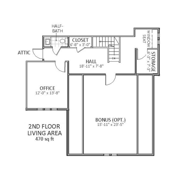 Upper level floor plan - 3600 square foot Traditional home
