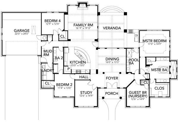 Mediterranean Floor Plan - Main Floor Plan Plan #80-222