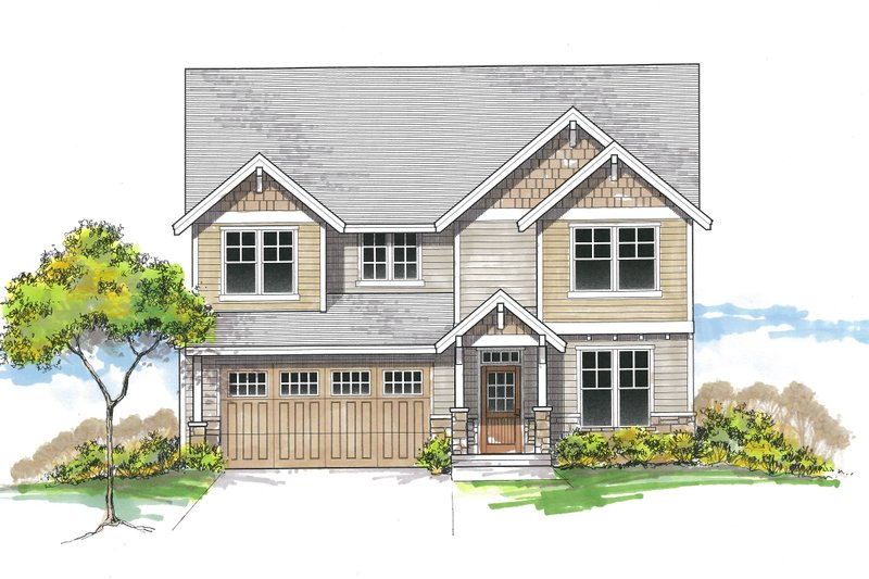 Craftsman Exterior - Front Elevation Plan #53-620
