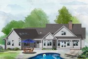 Farmhouse Style House Plan - 4 Beds 3.5 Baths 2596 Sq/Ft Plan #929-1054 Exterior - Rear Elevation