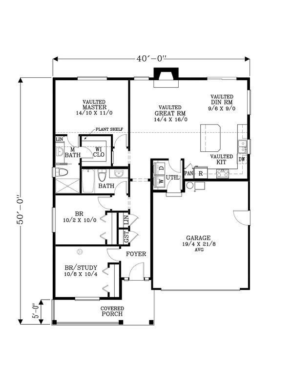 Craftsman Floor Plan - Main Floor Plan Plan #53-617