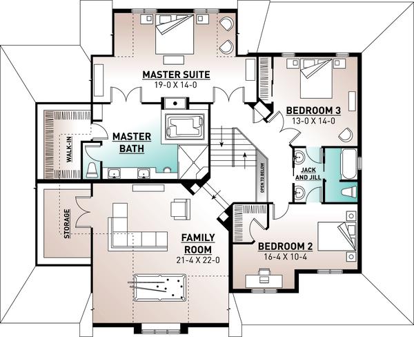 Traditional Floor Plan - Upper Floor Plan Plan #23-570