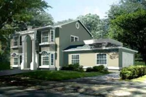 Colonial Exterior - Front Elevation Plan #1-1348