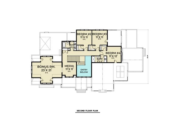 Farmhouse Floor Plan - Upper Floor Plan #1070-113