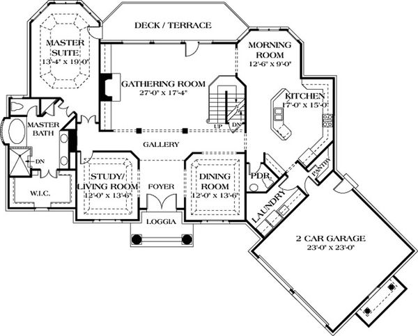 Colonial Floor Plan - Main Floor Plan Plan #453-37