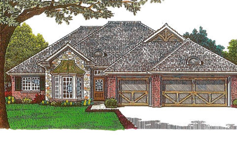 European Style House Plan - 3 Beds 2 Baths 1862 Sq/Ft Plan #310-971 Exterior - Front Elevation