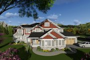 Craftsman Style House Plan - 4 Beds 3.5 Baths 3851 Sq/Ft Plan #70-1291 Exterior - Front Elevation