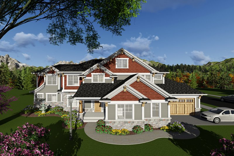 Craftsman Exterior - Front Elevation Plan #70-1291