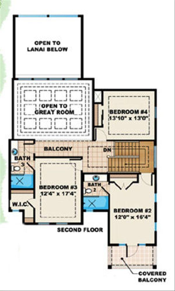 Beach Floor Plan - Upper Floor Plan Plan #27-412