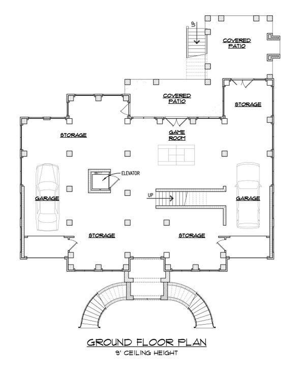 Classical Floor Plan - Lower Floor Plan #1054-52
