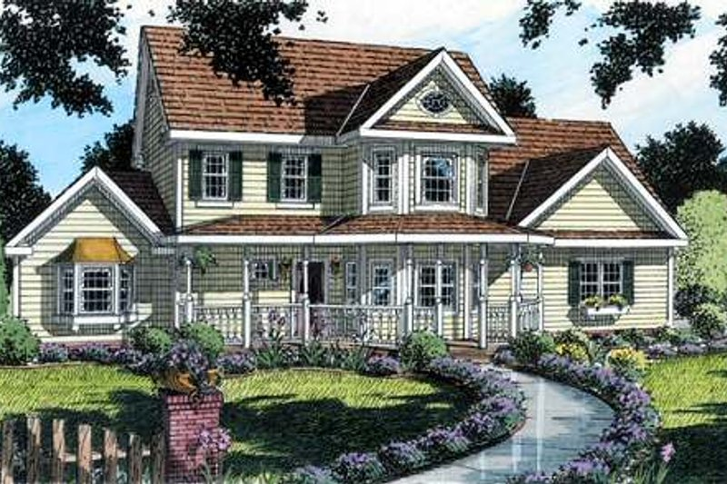 Country Style House Plan - 3 Beds 2.5 Baths 2044 Sq/Ft Plan #312-573 Exterior - Front Elevation