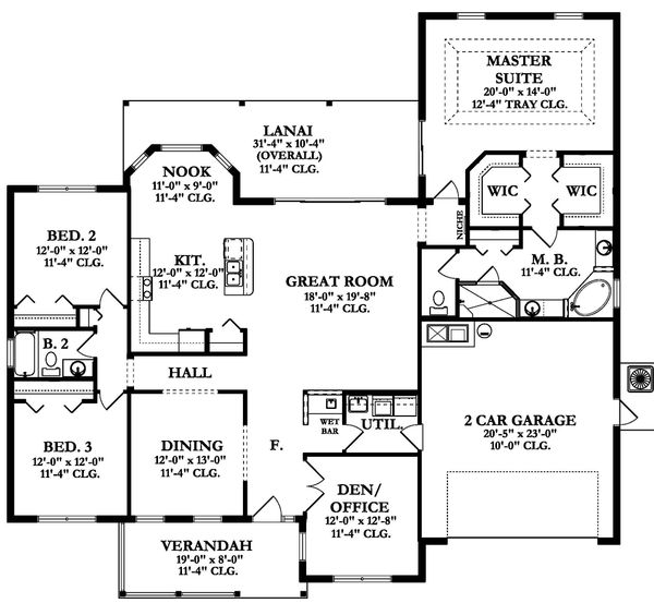 Ranch Floor Plan - Main Floor Plan Plan #1058-163