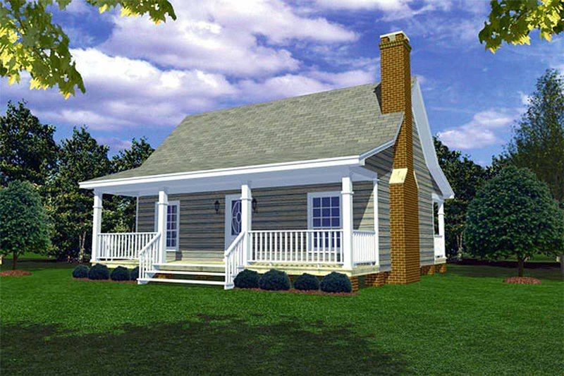 Cabin Style House Plan - 1 Beds 1 Baths 600 Sq/Ft Plan #21-108 Exterior - Front Elevation
