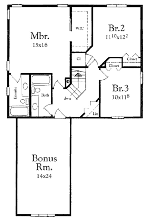 Traditional Floor Plan - Upper Floor Plan Plan #409-1114