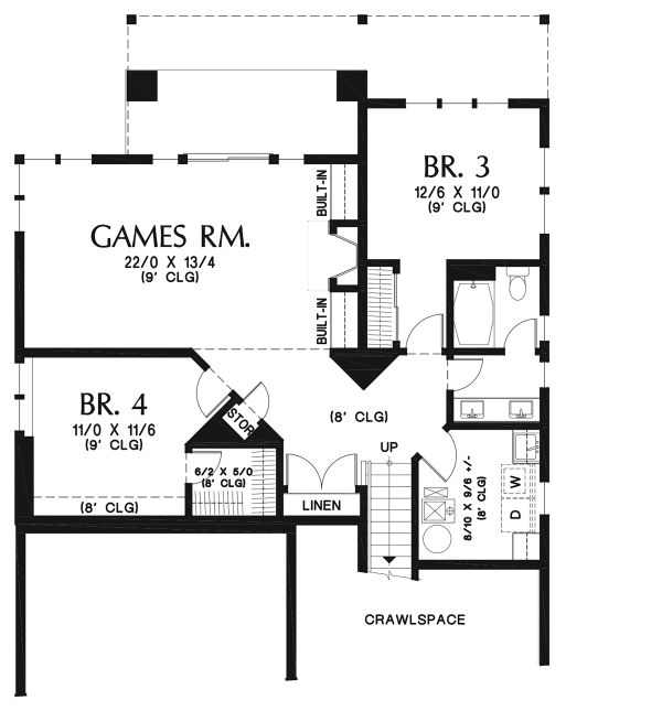 Contemporary Floor Plan - Lower Floor Plan Plan #48-961