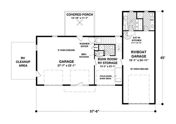 Craftsman Floor Plan - Main Floor Plan Plan #56-626