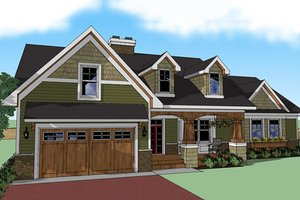 Craftsman Exterior - Front Elevation Plan #51-512