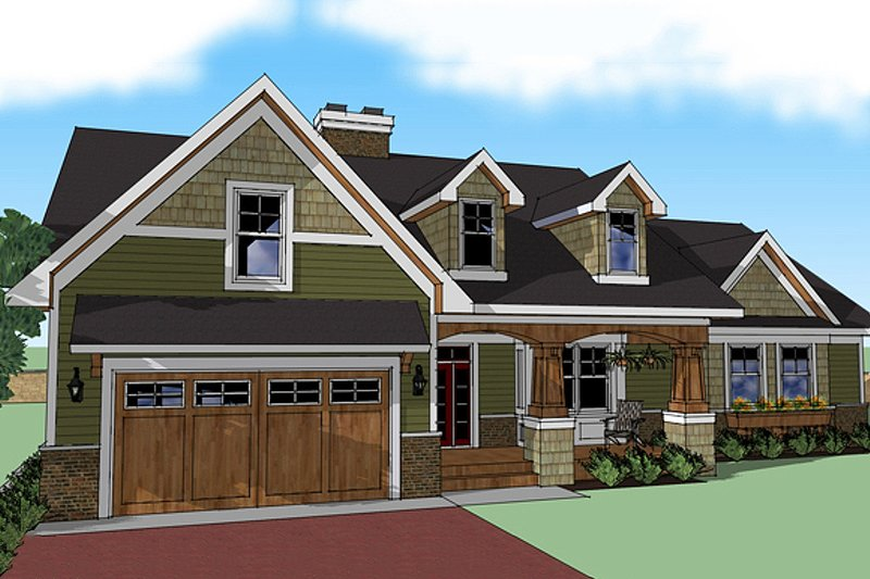 Craftsman Exterior - Front Elevation Plan #51-512