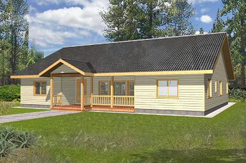 Cabin Exterior - Front Elevation Plan #117-513