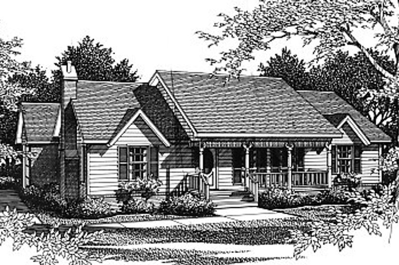 Architectural House Design - Country Exterior - Front Elevation Plan #14-135