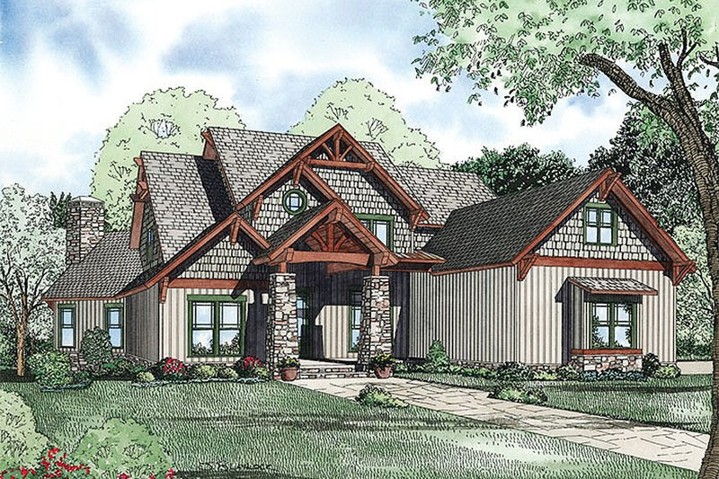 Country Style House Plan - 6 Beds 5 Baths 4992 Sq/Ft Plan #17-2377 Exterior - Front Elevation