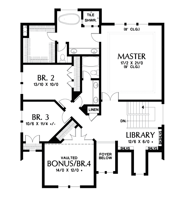 Cottage Floor Plan - Upper Floor Plan Plan #48-1018