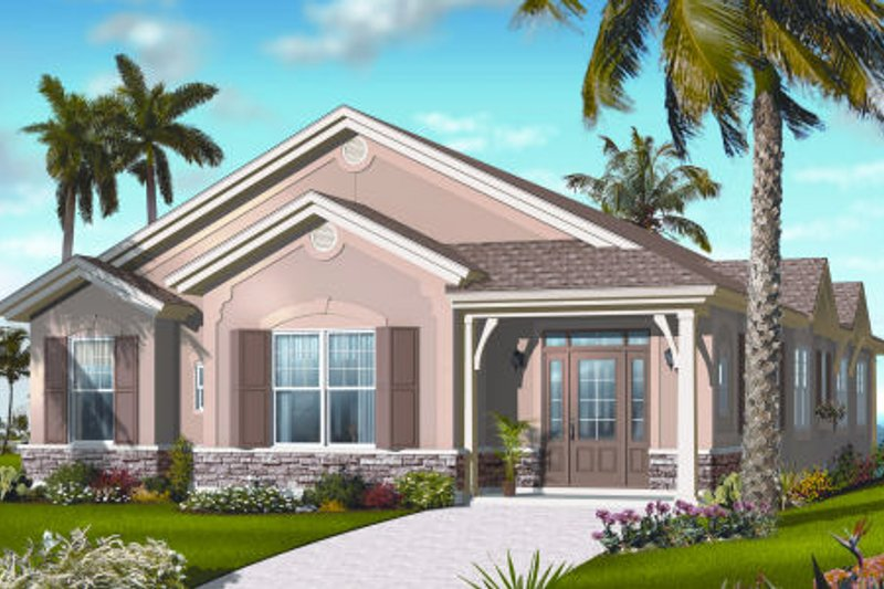 Mediterranean Exterior - Front Elevation Plan #23-2216