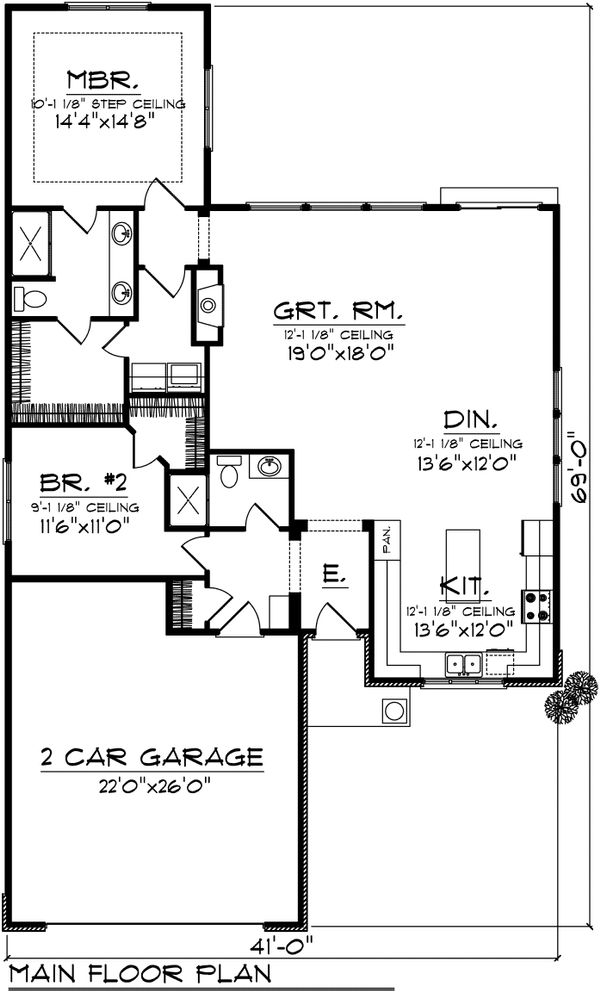 Ranch Floor Plan - Main Floor Plan Plan #70-1025