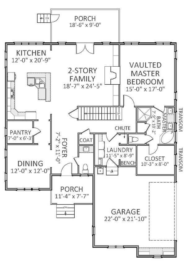 Craftsman Floor Plan - Main Floor Plan Plan #898-28