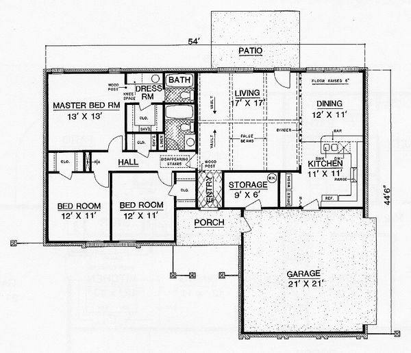 Ranch Floor Plan - Main Floor Plan Plan #45-554