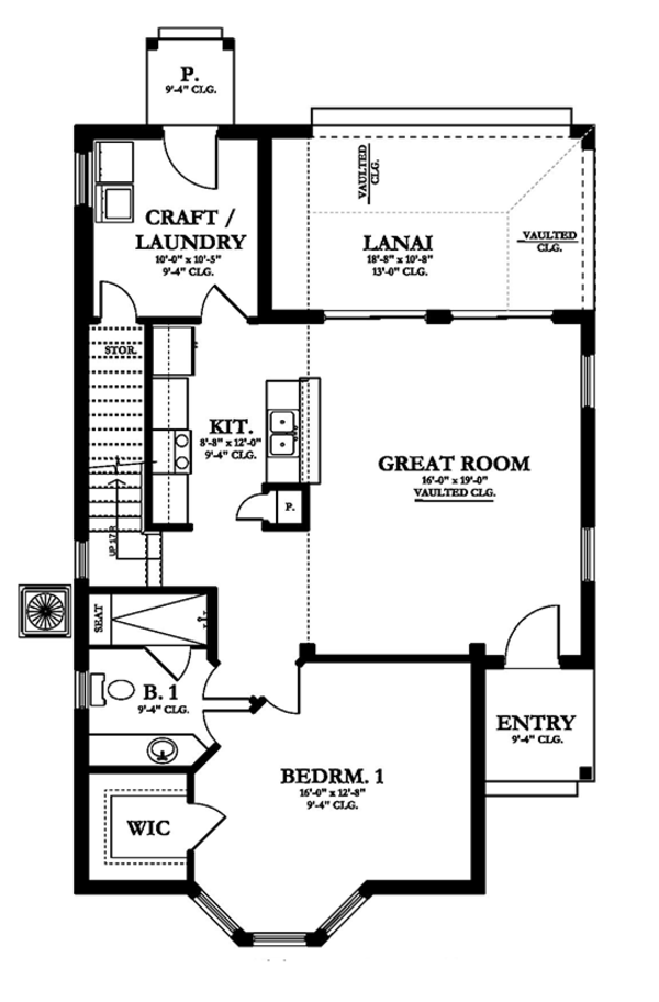 European Floor Plan - Main Floor Plan Plan #1058-108