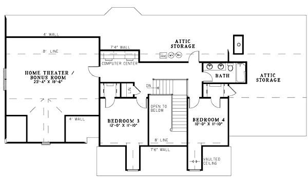 Traditional Floor Plan - Upper Floor Plan Plan #17-1178