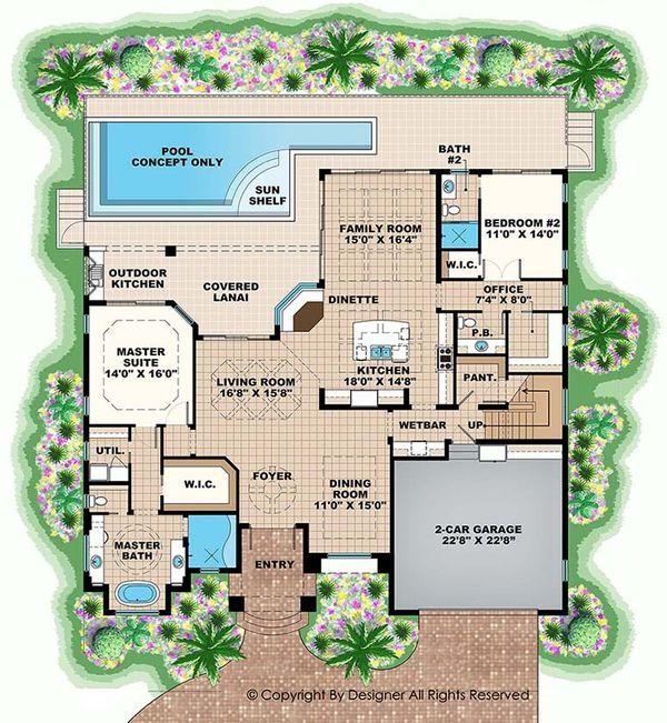 Mediterranean Floor Plan - Main Floor Plan Plan #1017-162