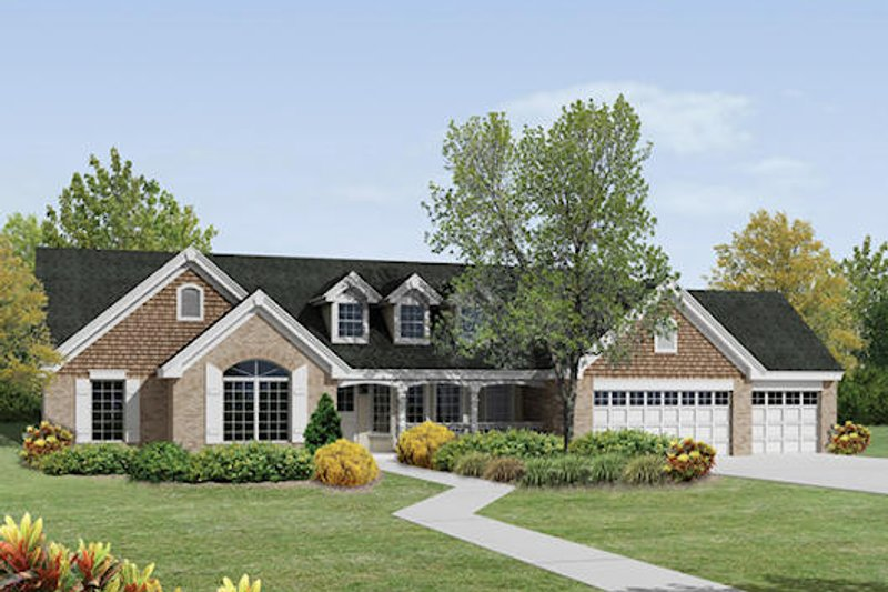 Traditional Exterior - Front Elevation Plan #57-379 - Houseplans.com
