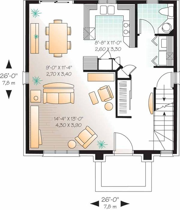 European Floor Plan - Main Floor Plan Plan #23-2449