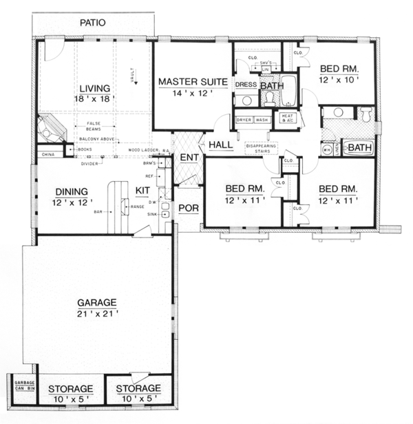 European Floor Plan - Main Floor Plan Plan #45-566